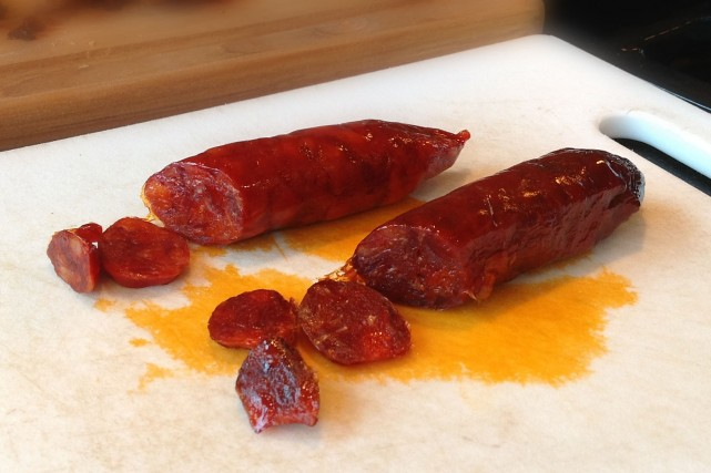 The color of the one year old chorizos caseros is much darker