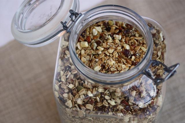 Store granola in an airtight jar